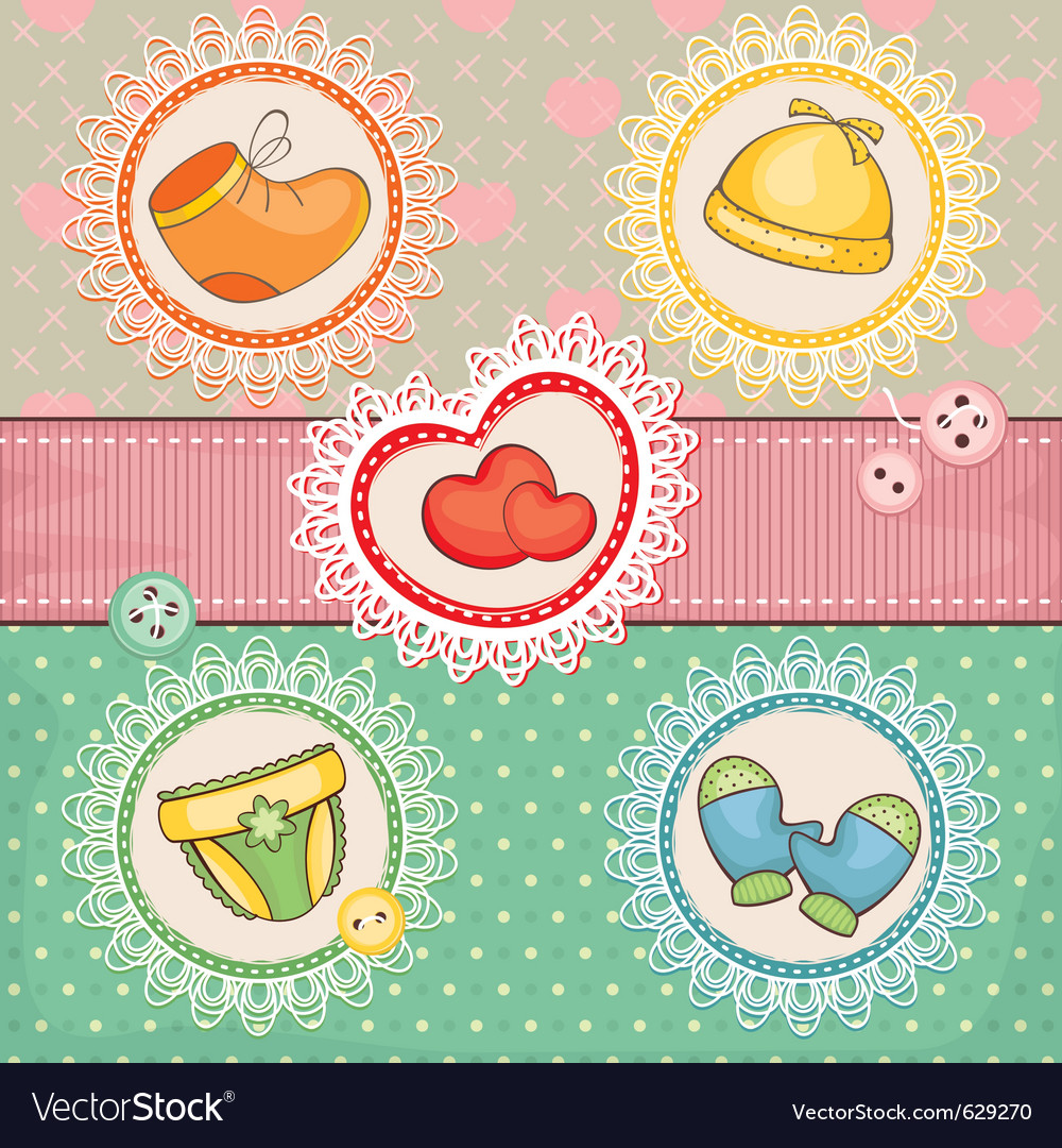 Abstract cute lovely baby card vector | Price: 1 Credit (USD $1)