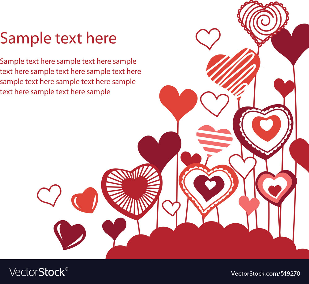 Background with growing hearts vector | Price: 1 Credit (USD $1)