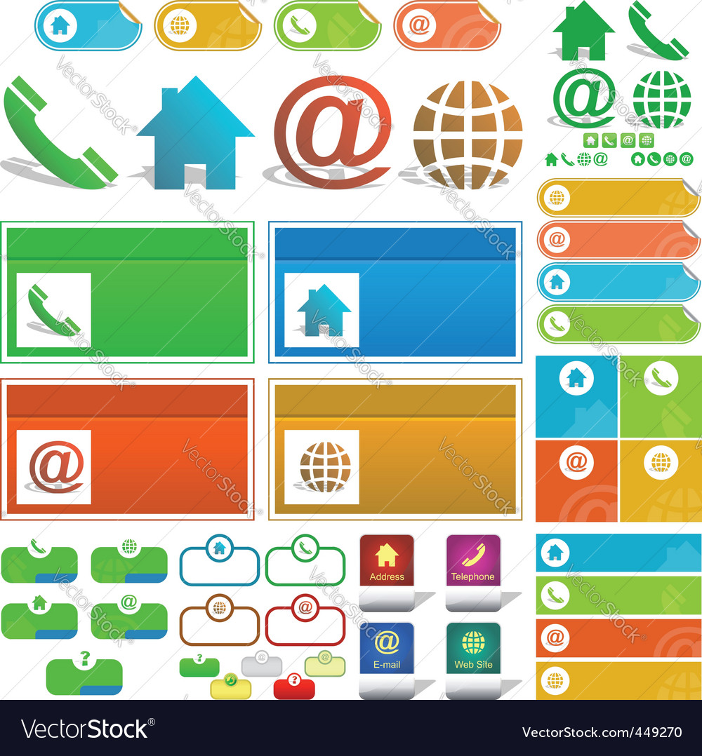 Contact element set for design vector   Price: 1 Credit (USD $1)