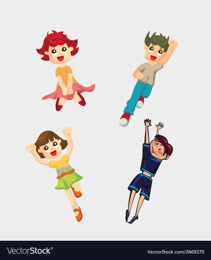 Cute cartoon boys and girls clip art vector | Price: 1 Credit (USD $1)