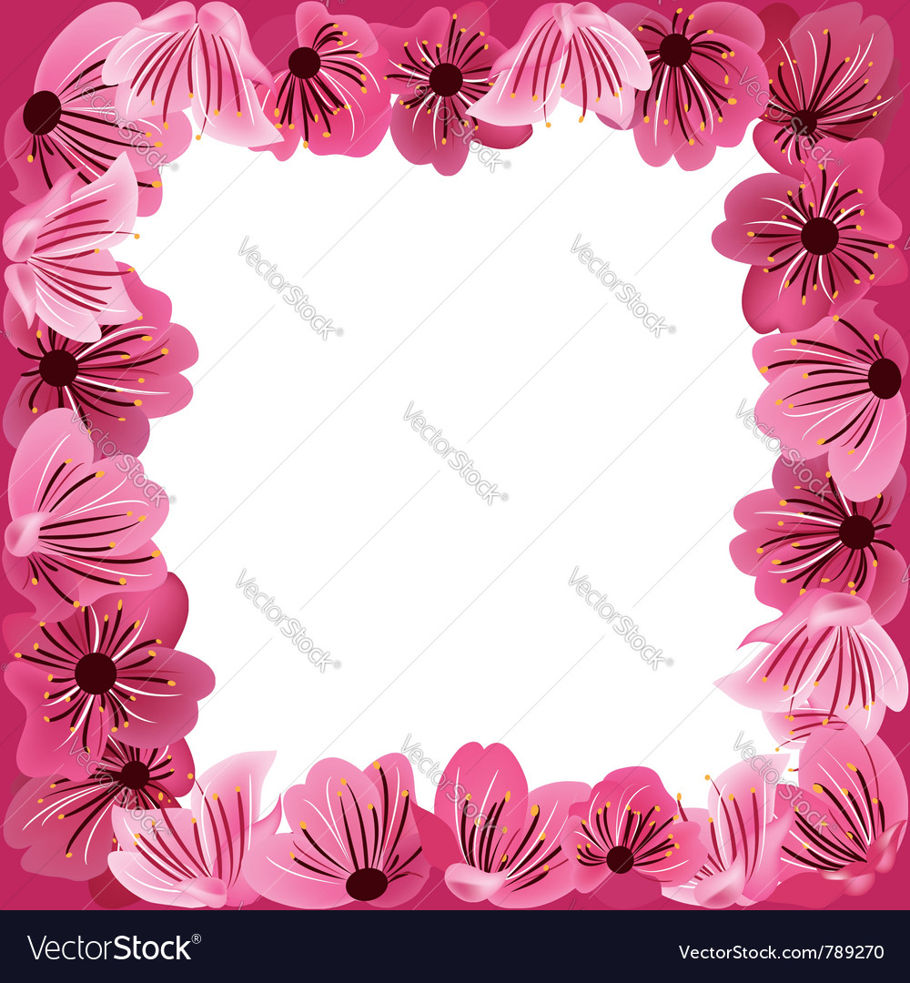 Flowers frame floral background vector | Price: 1 Credit (USD $1)