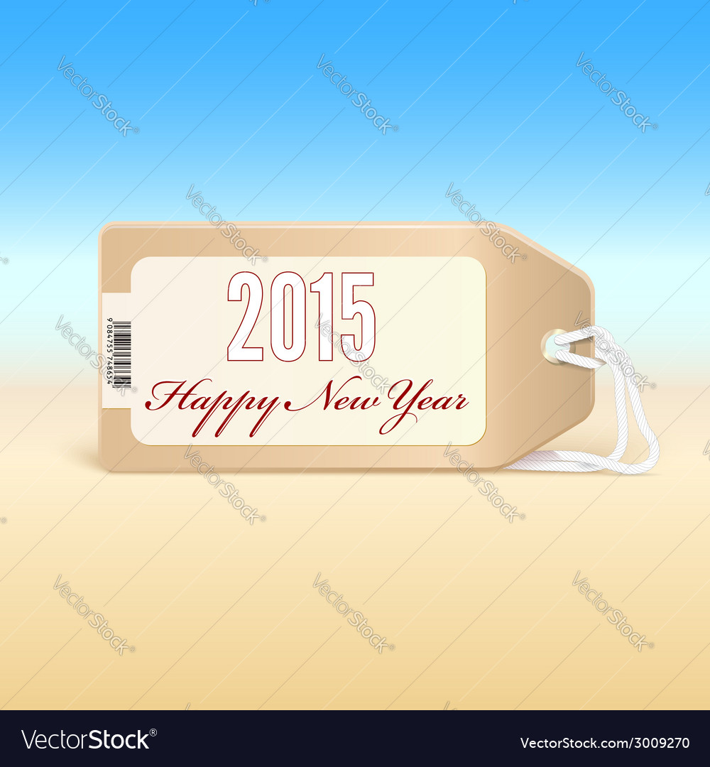 Greeting card with new year 2015 on the price tag vector | Price: 1 Credit (USD $1)