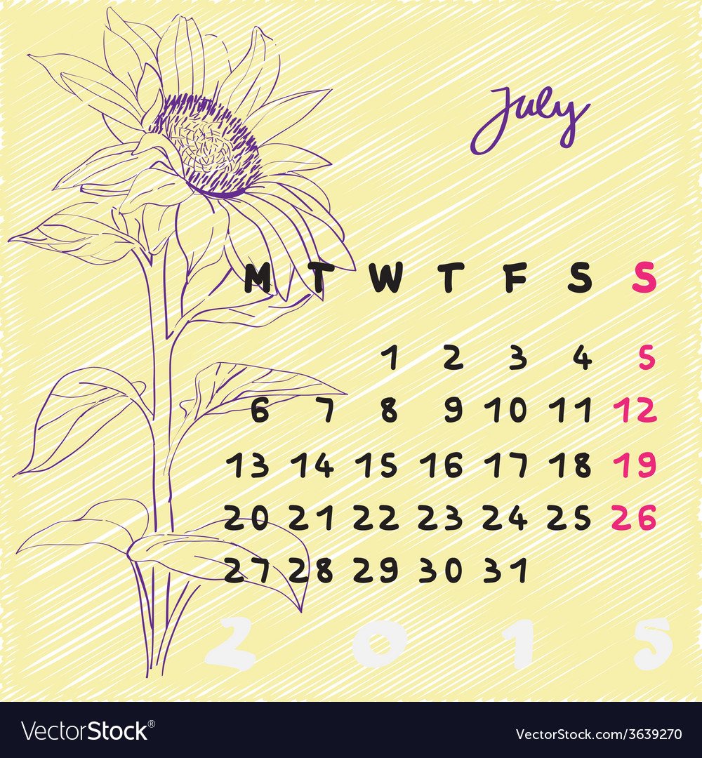 July 2015 flowers vector | Price: 1 Credit (USD $1)