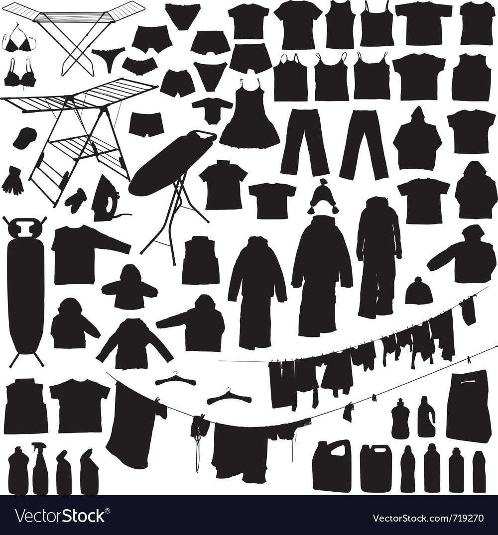 Laundry silhouettes vector | Price: 1 Credit (USD $1)