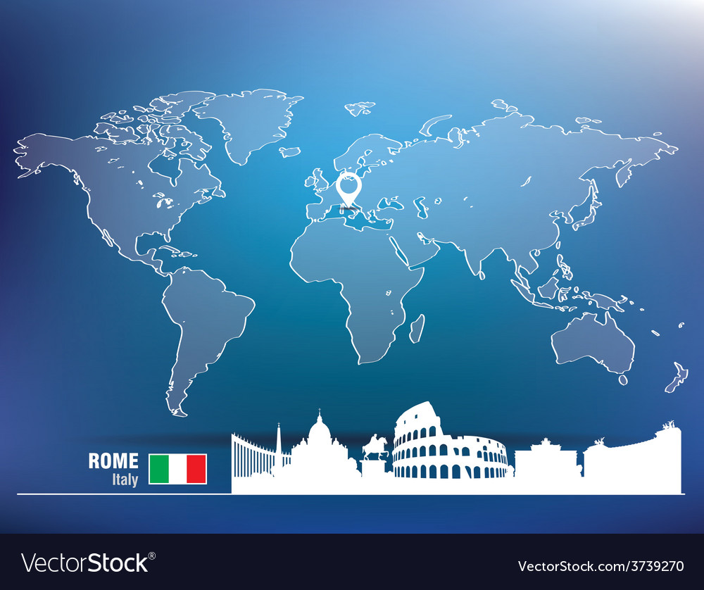 Map pin with rome skyline vector | Price: 1 Credit (USD $1)