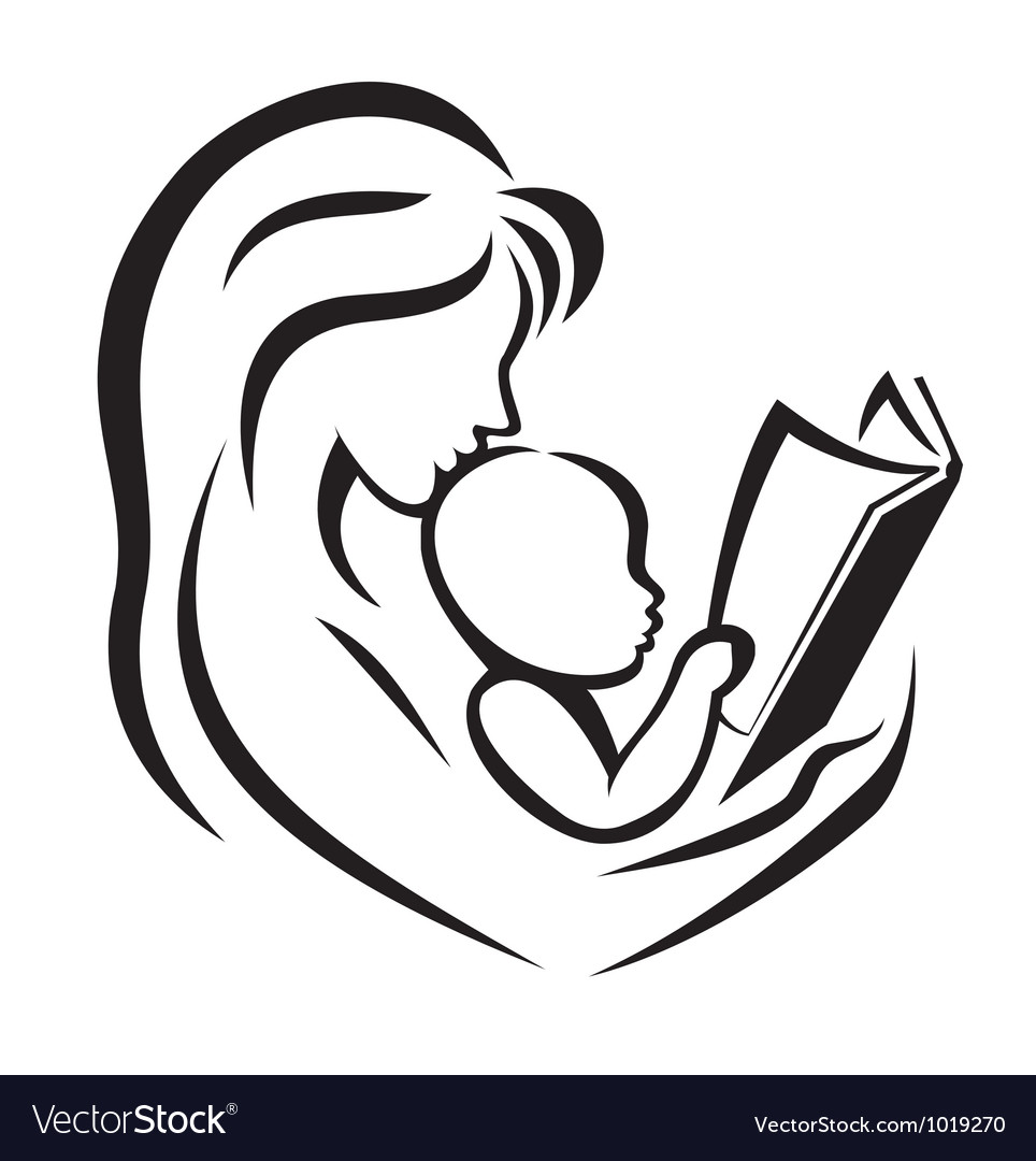 Mother and child reading the book vector | Price: 1 Credit (USD $1)