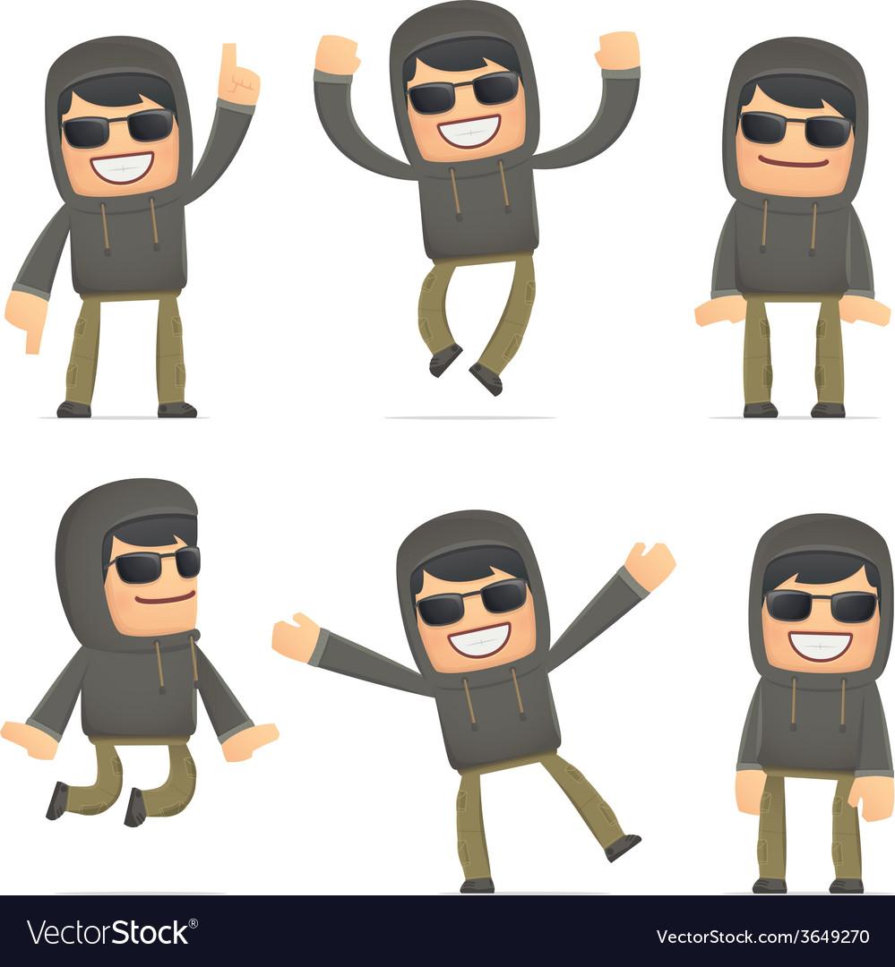 Set of hacker character in different poses vector | Price: 3 Credit (USD $3)