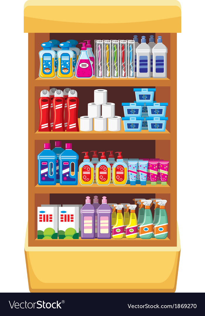 Shelfs with household chemicals vector | Price: 1 Credit (USD $1)