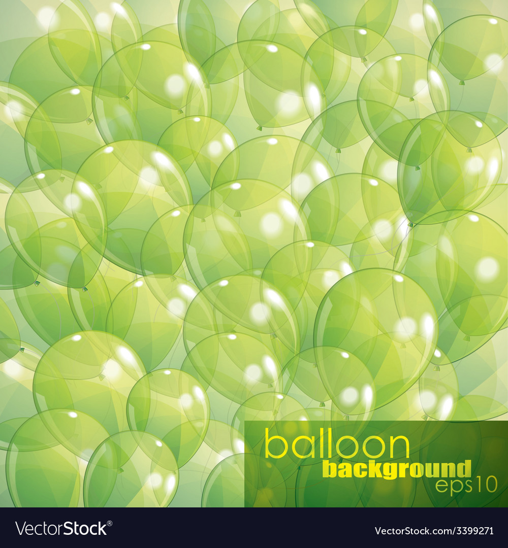 Background with green transparent balloons vector   Price: 1 Credit (USD $1)