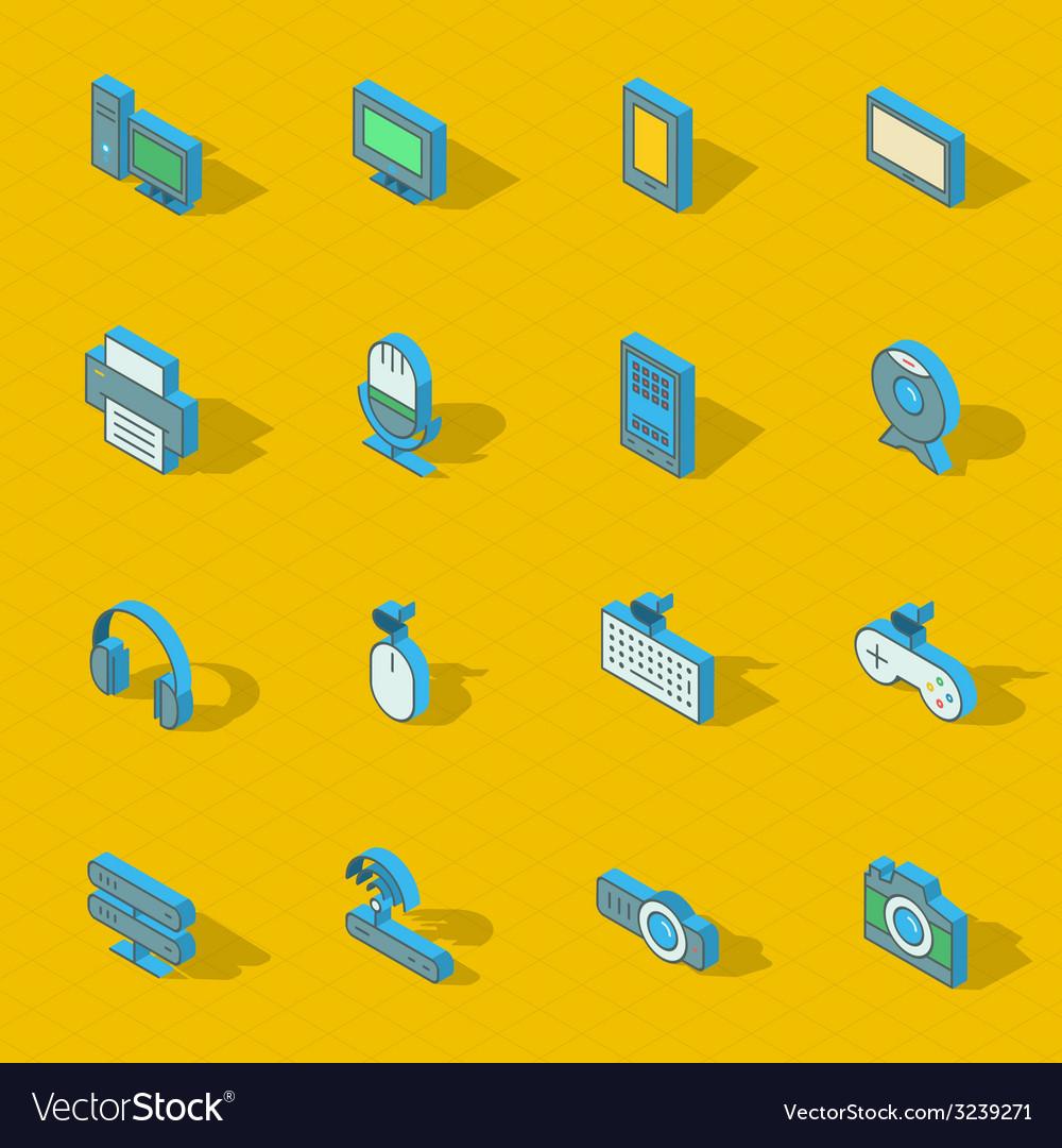 Colorful isometric flat design icon set vector | Price: 1 Credit (USD $1)