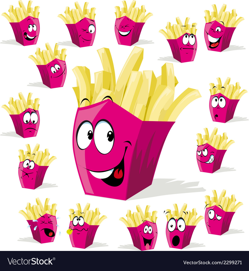 French fries cartoon vector | Price: 1 Credit (USD $1)