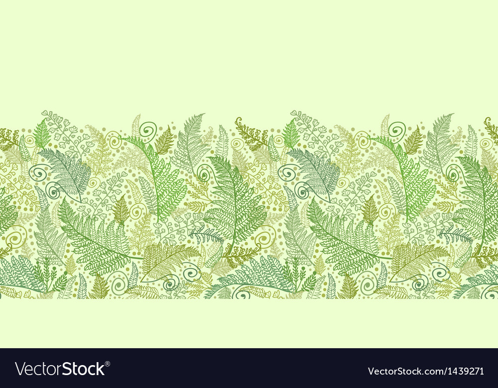 Green fern leaves horizontal seamless pattern vector | Price: 1 Credit (USD $1)