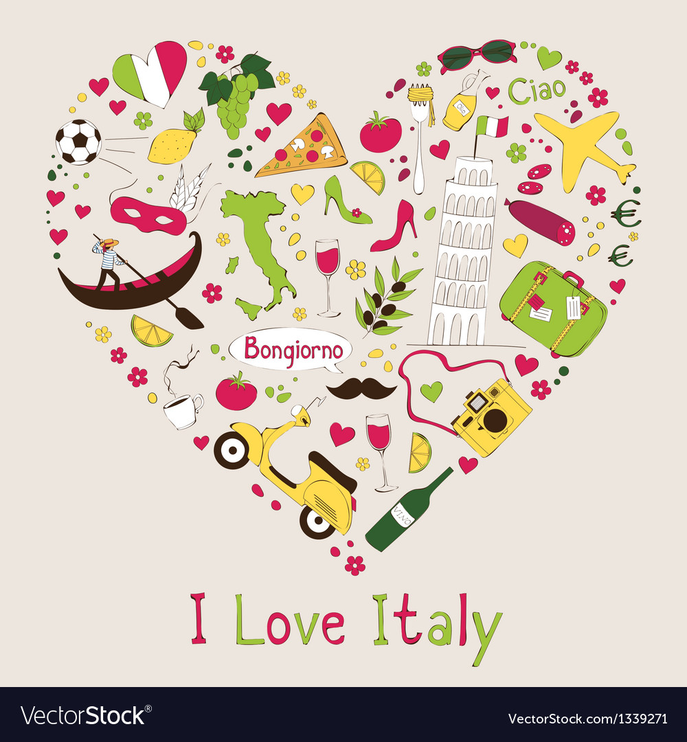 I love italy vector | Price: 1 Credit (USD $1)