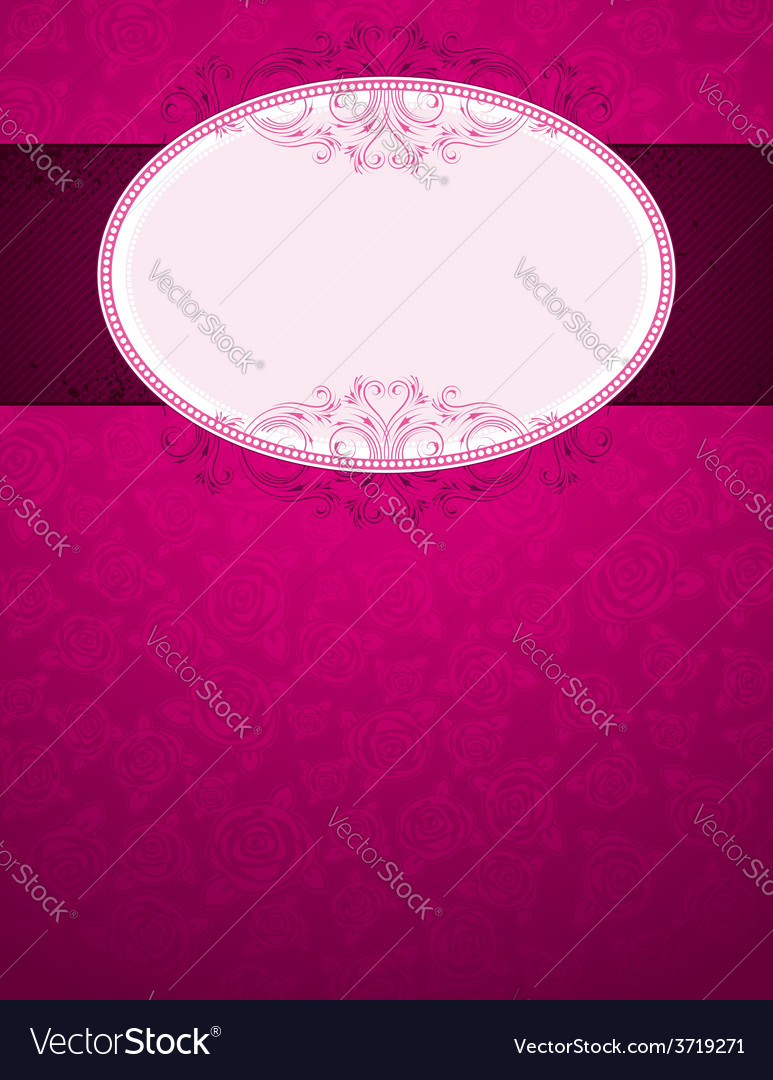 Pink background with big label and many roses vector | Price: 1 Credit (USD $1)