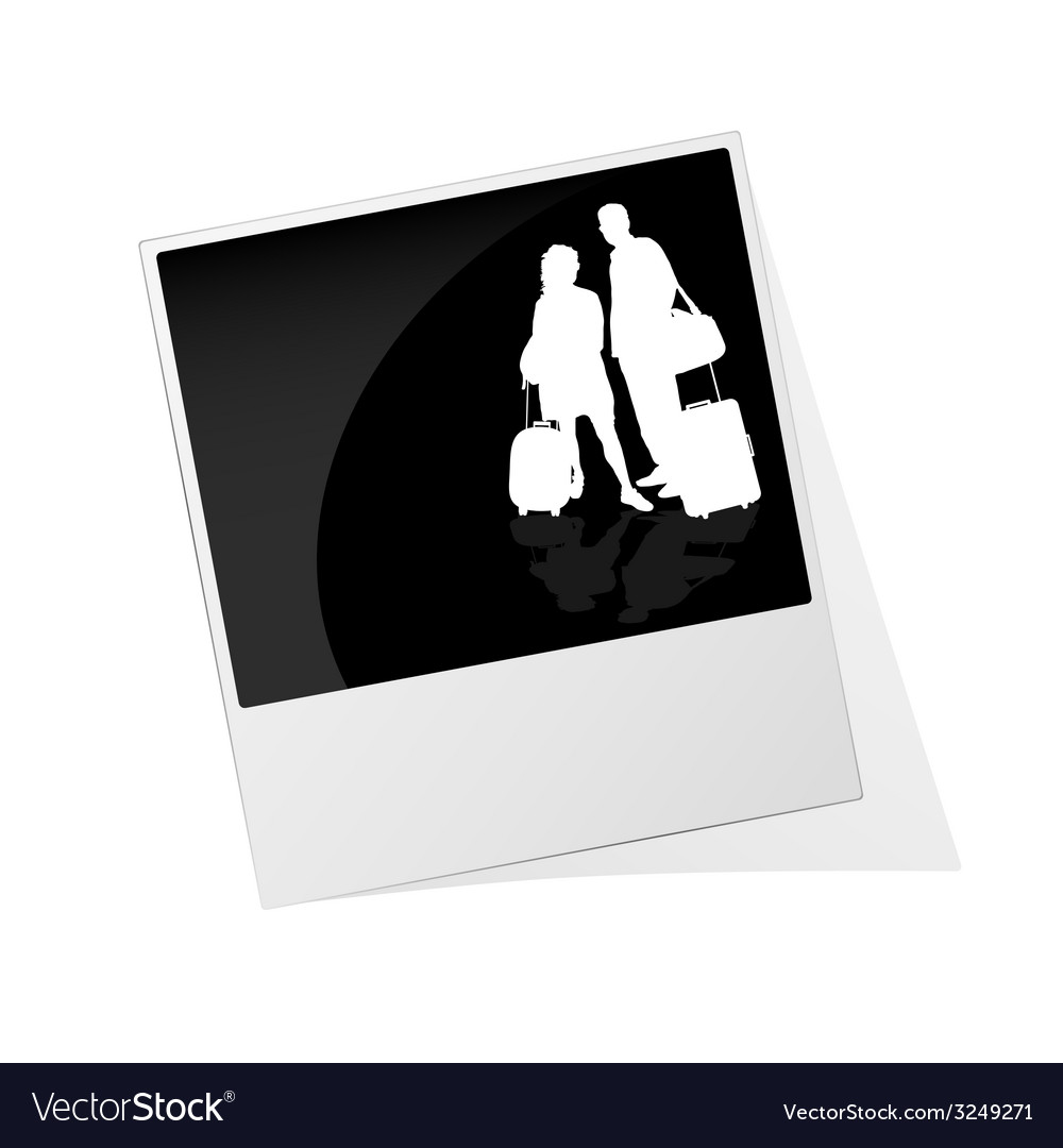 Polaroid photo frame with couple travel silhouette vector | Price: 1 Credit (USD $1)