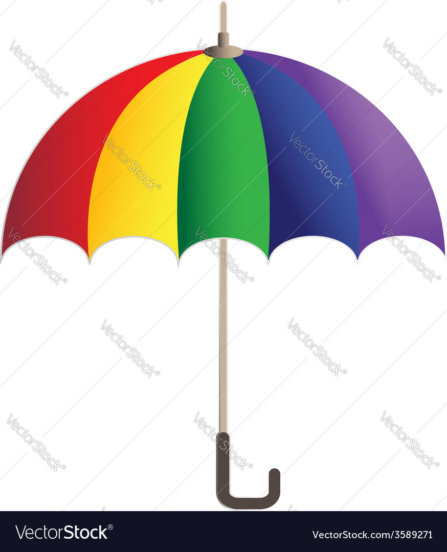 Rainbow bright umbrella simple icon vector | Price: 1 Credit (USD $1)