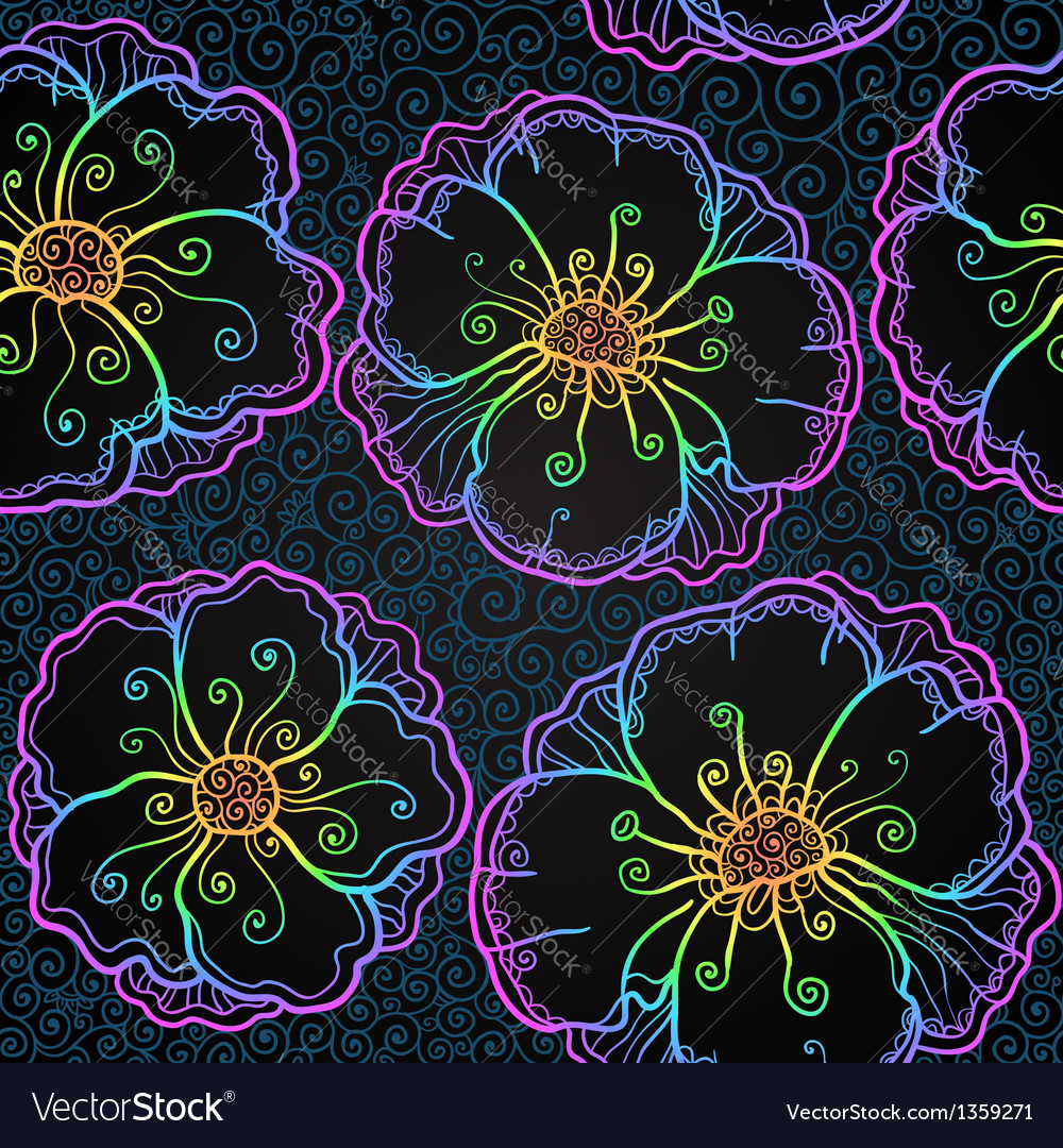 Rainbow doodle poppy flowers seamless pattern vector | Price: 1 Credit (USD $1)