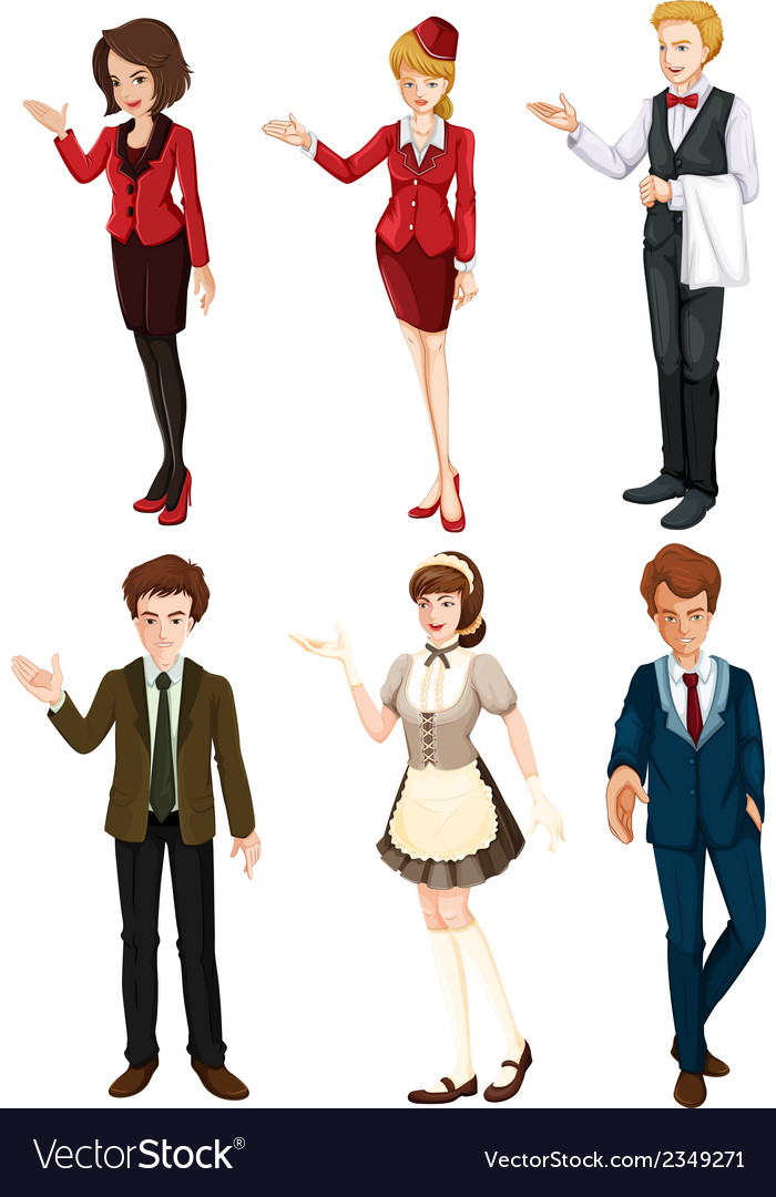 Six people with different professions vector | Price: 3 Credit (USD $3)