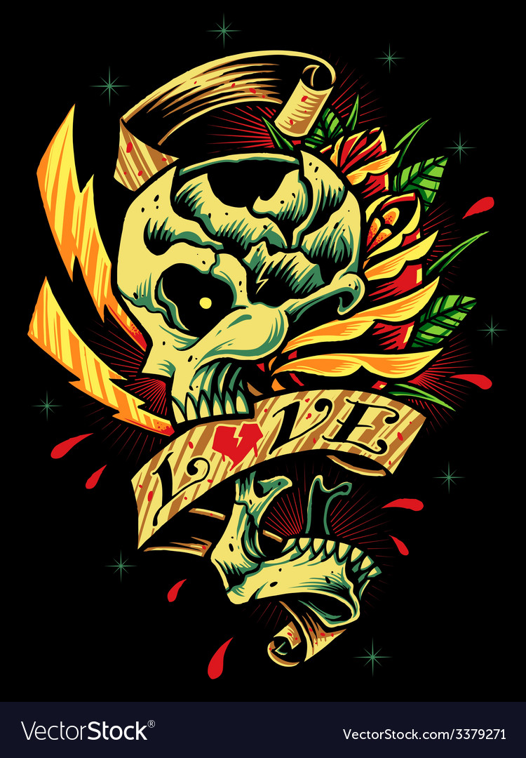 Skull roses and ribbon vector | Price: 3 Credit (USD $3)
