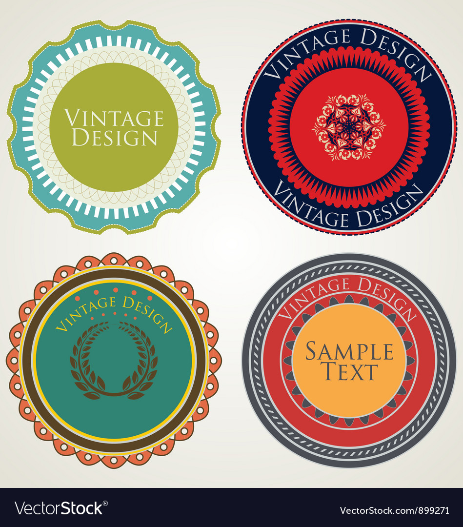 Vintage stickers vector | Price: 1 Credit (USD $1)