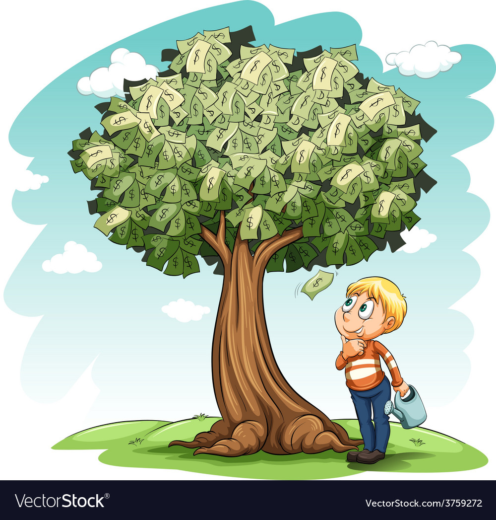 A money tree and a young boy vector