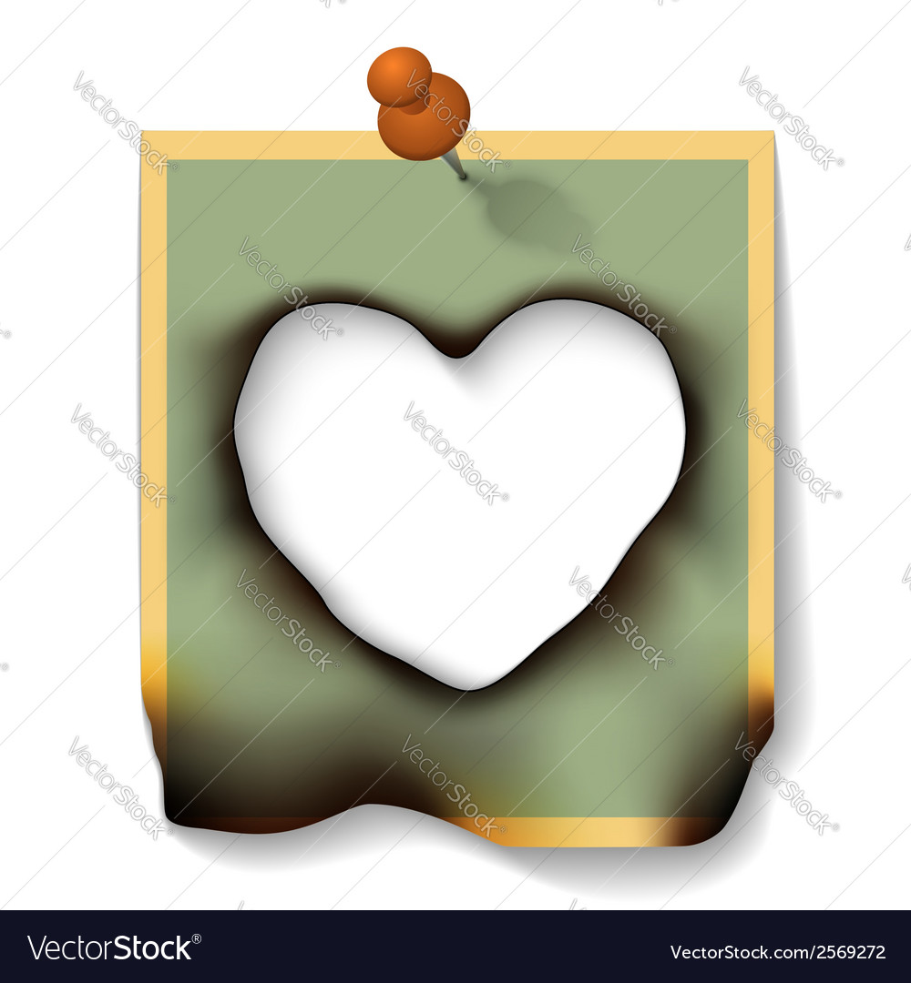 Burnt paper card with hole heart shaped vector | Price: 1 Credit (USD $1)