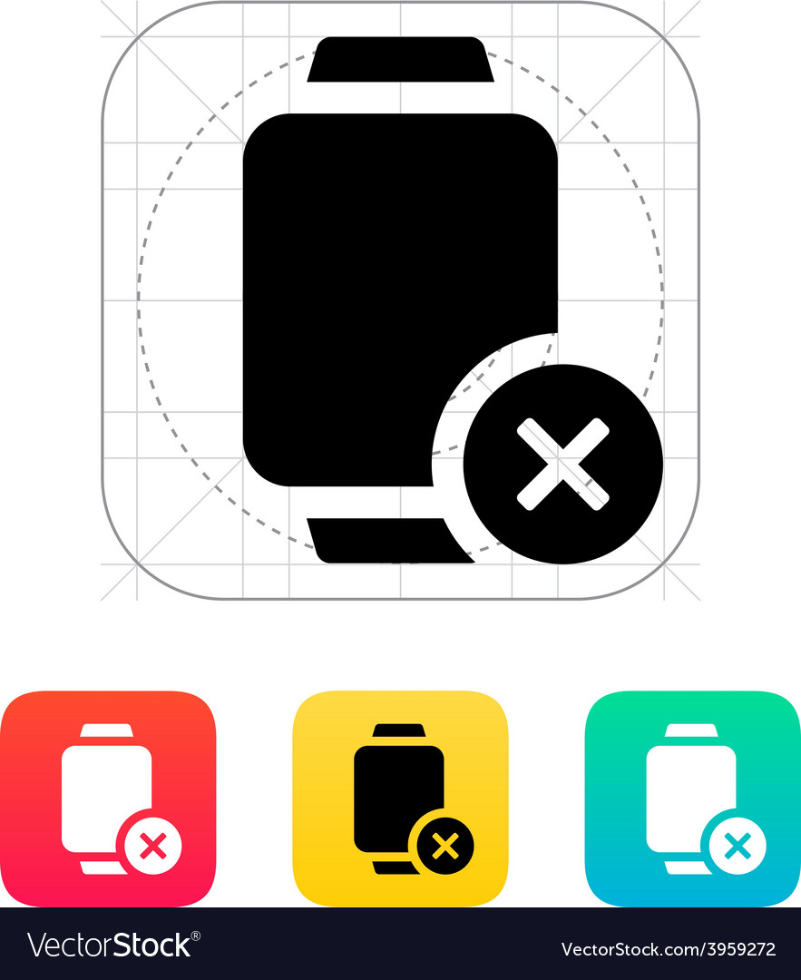Cancel sign on smart watch icon vector | Price: 1 Credit (USD $1)