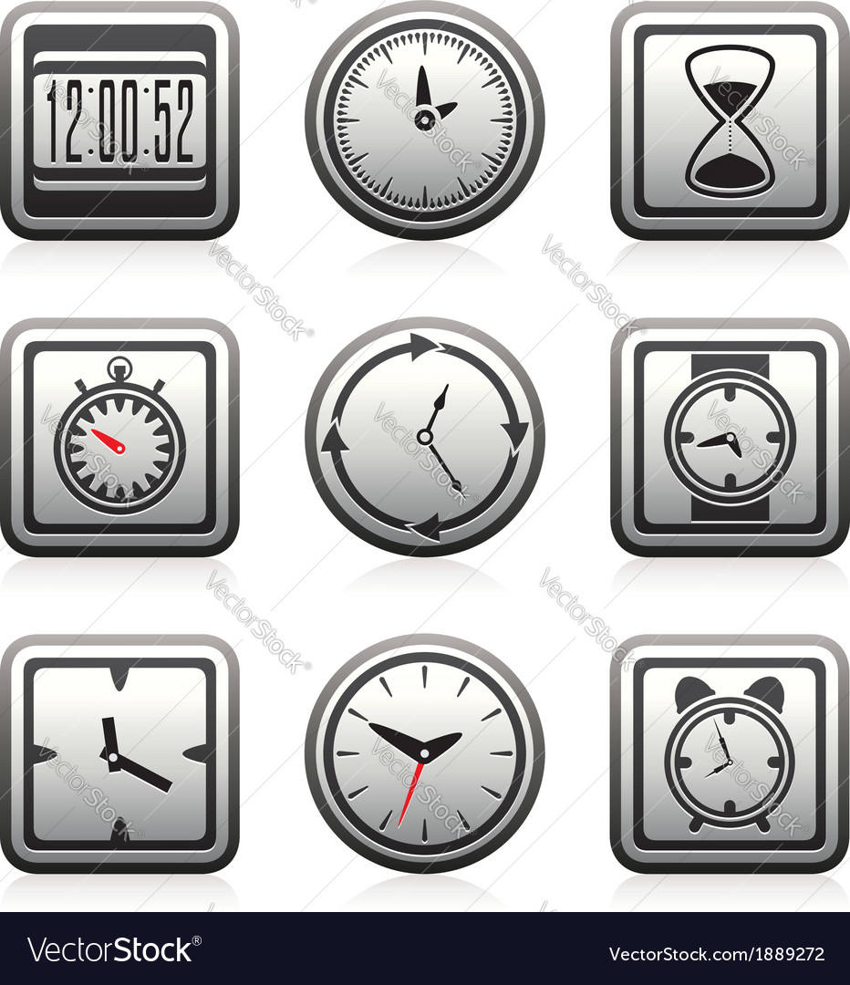 Clock and time symbols vector | Price: 1 Credit (USD $1)