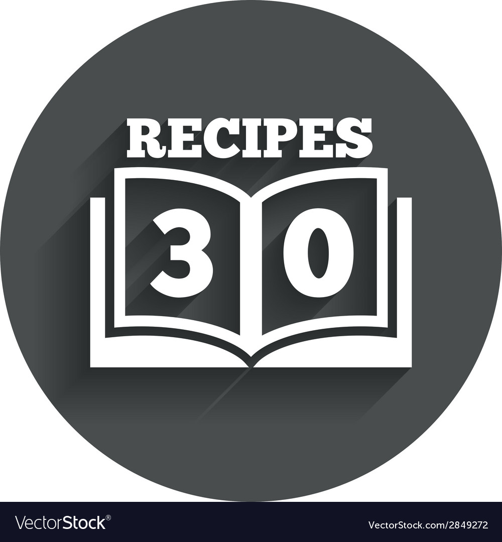 Cookbook sign icon 30 recipes book symbol vector | Price: 1 Credit (USD $1)