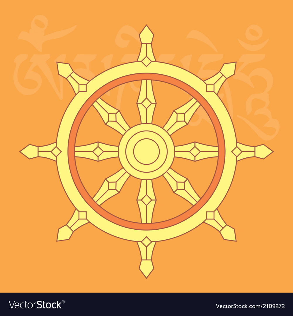 Dharma wheel-buddhist religious symbol vector | Price: 1 Credit (USD $1)