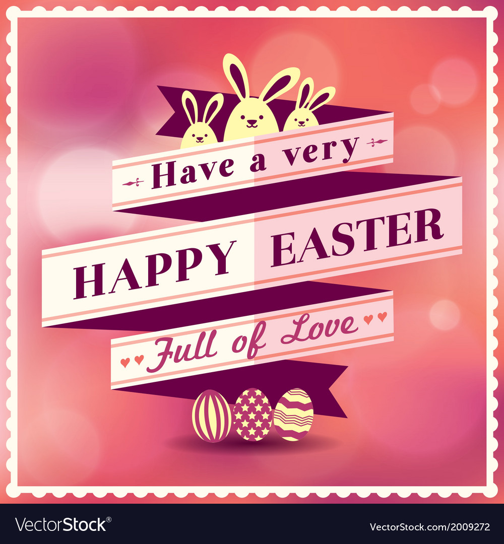 Easter card with ribbon design vector | Price: 1 Credit (USD $1)