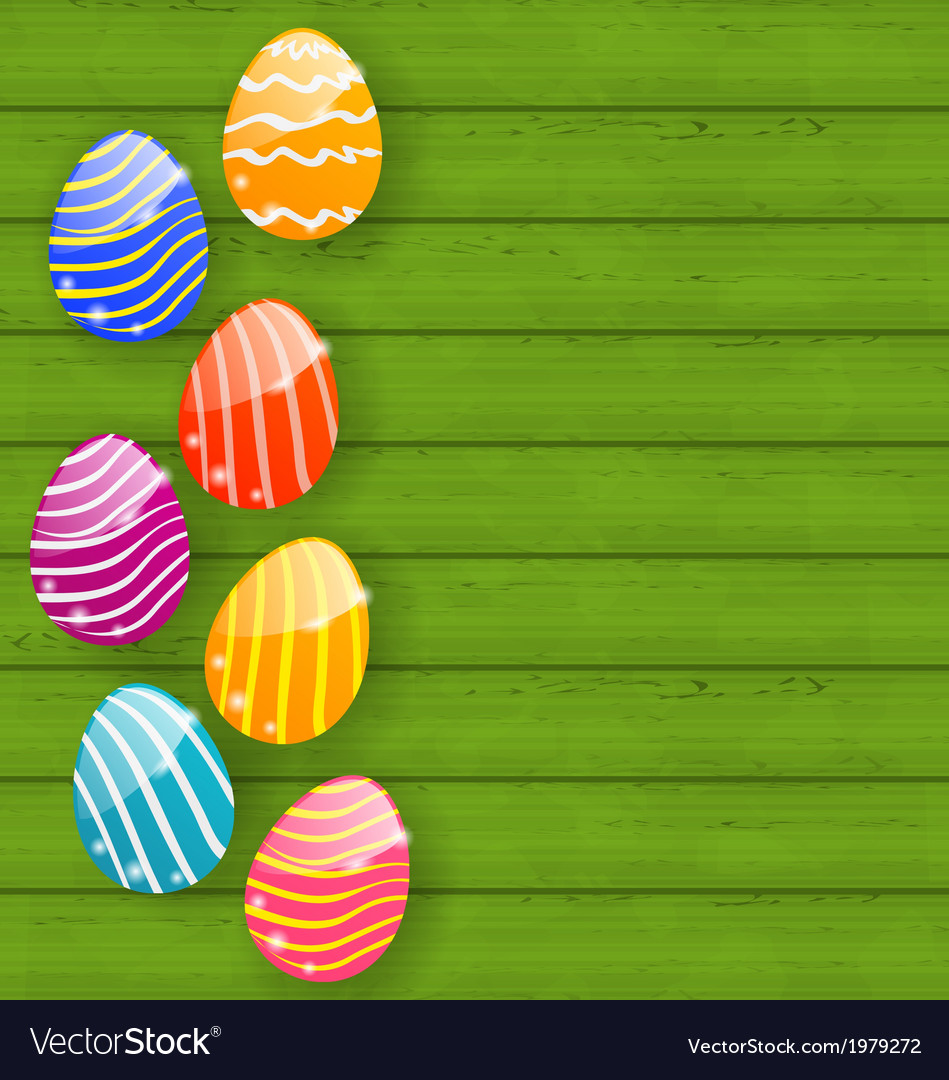 Easter colorful eggs on wooden texture vector | Price: 1 Credit (USD $1)