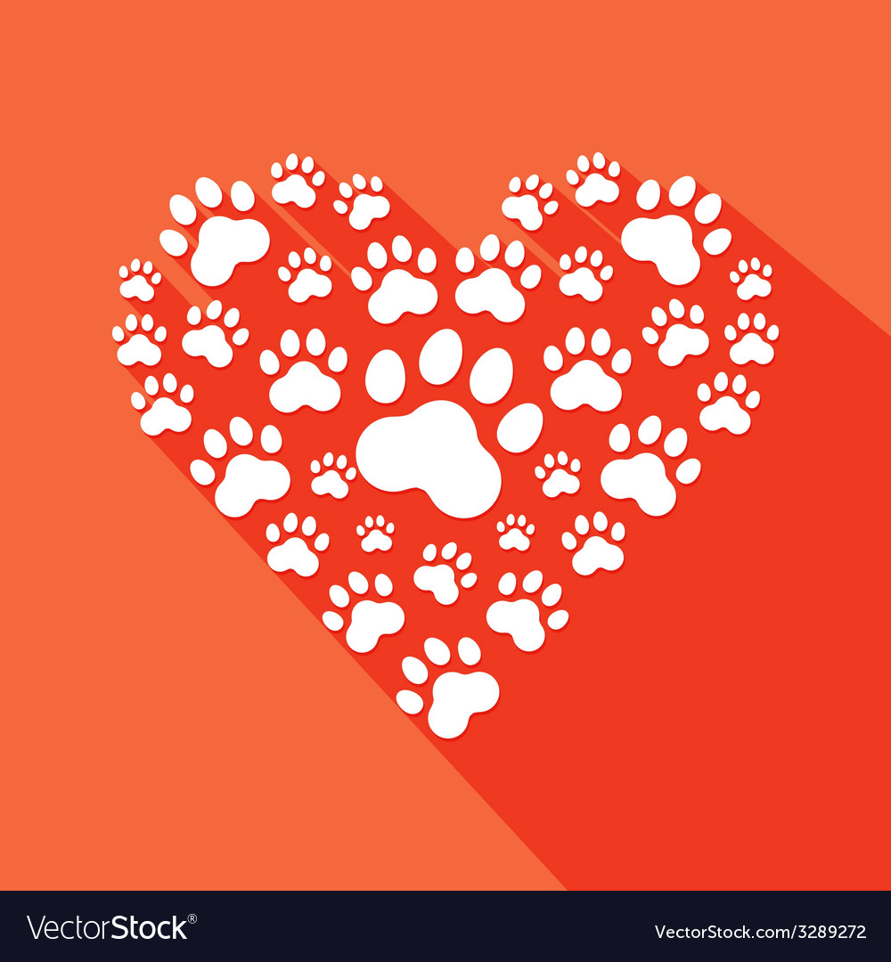 Flat heart with pet paws silhouette vector | Price: 1 Credit (USD $1)