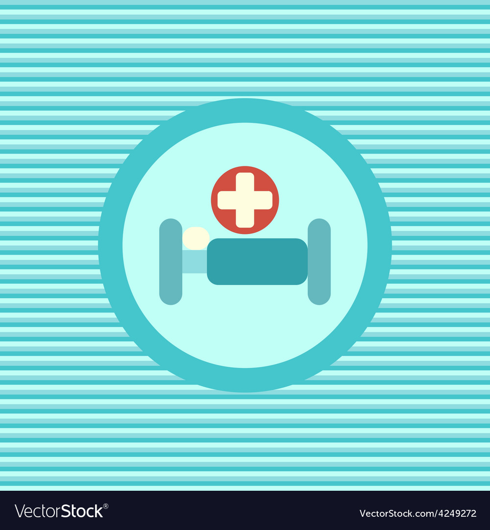 Hospital bed color flat icon vector