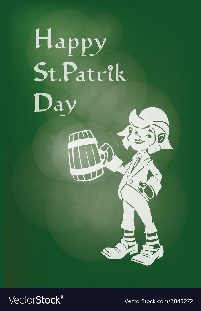 Leprechaun greeting happy st patrick day vector   Price: 1 Credit (USD $1)