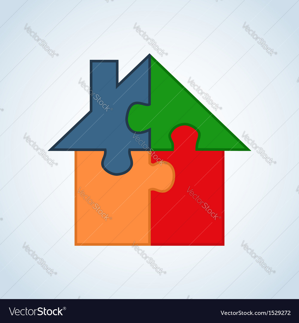 Real estate puzzle house vector | Price: 1 Credit (USD $1)