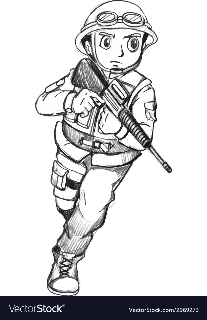 A sketch of a soldier vector | Price: 1 Credit (USD $1)
