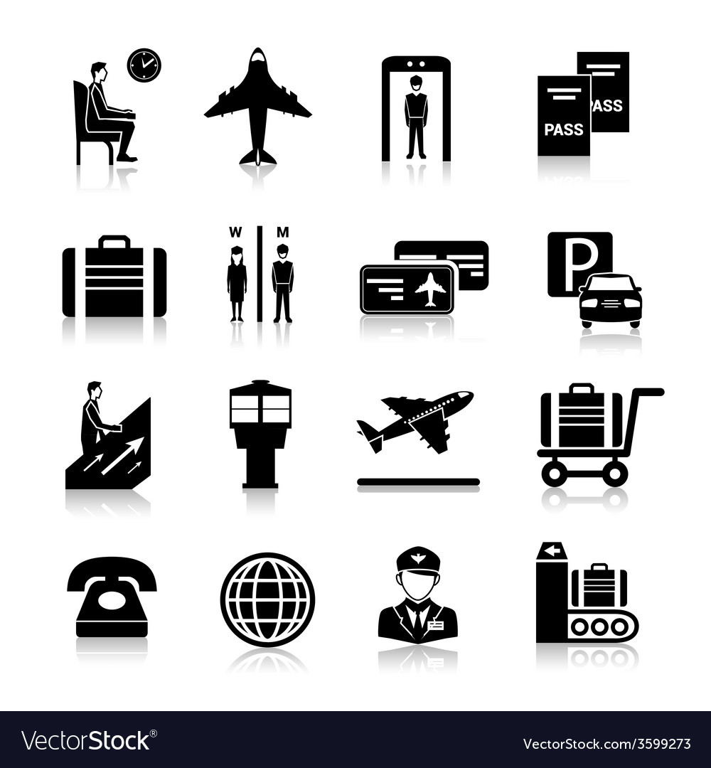 Airport icons black vector | Price: 1 Credit (USD $1)