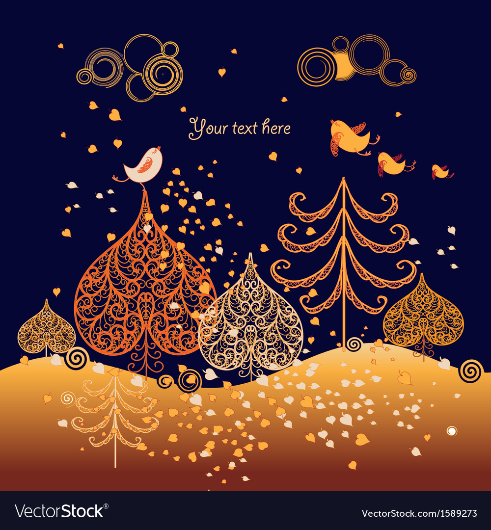 Autumn background with leaves birds and trees vector