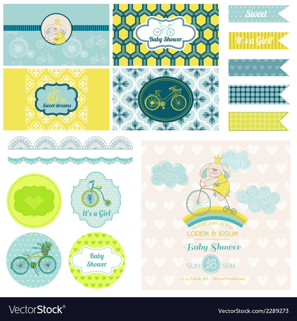 Baby shower bunny and bike party set vector | Price: 3 Credit (USD $3)