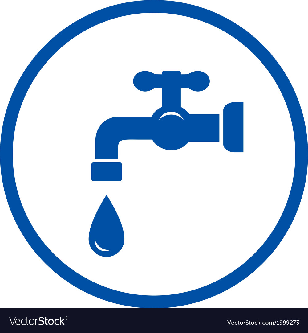 Blue icon with faucet and drop vector | Price: 1 Credit (USD $1)