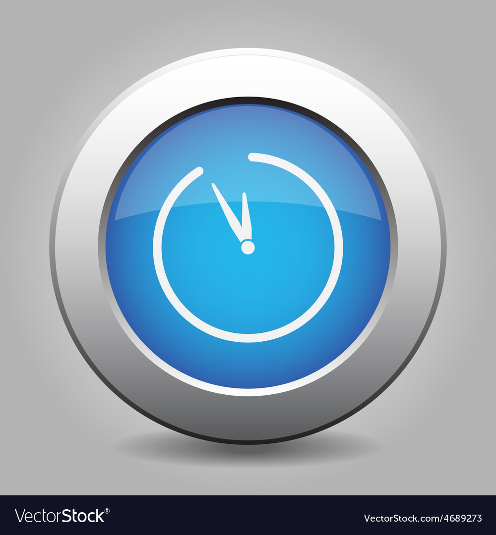Blue metal button with clock vector | Price: 1 Credit (USD $1)