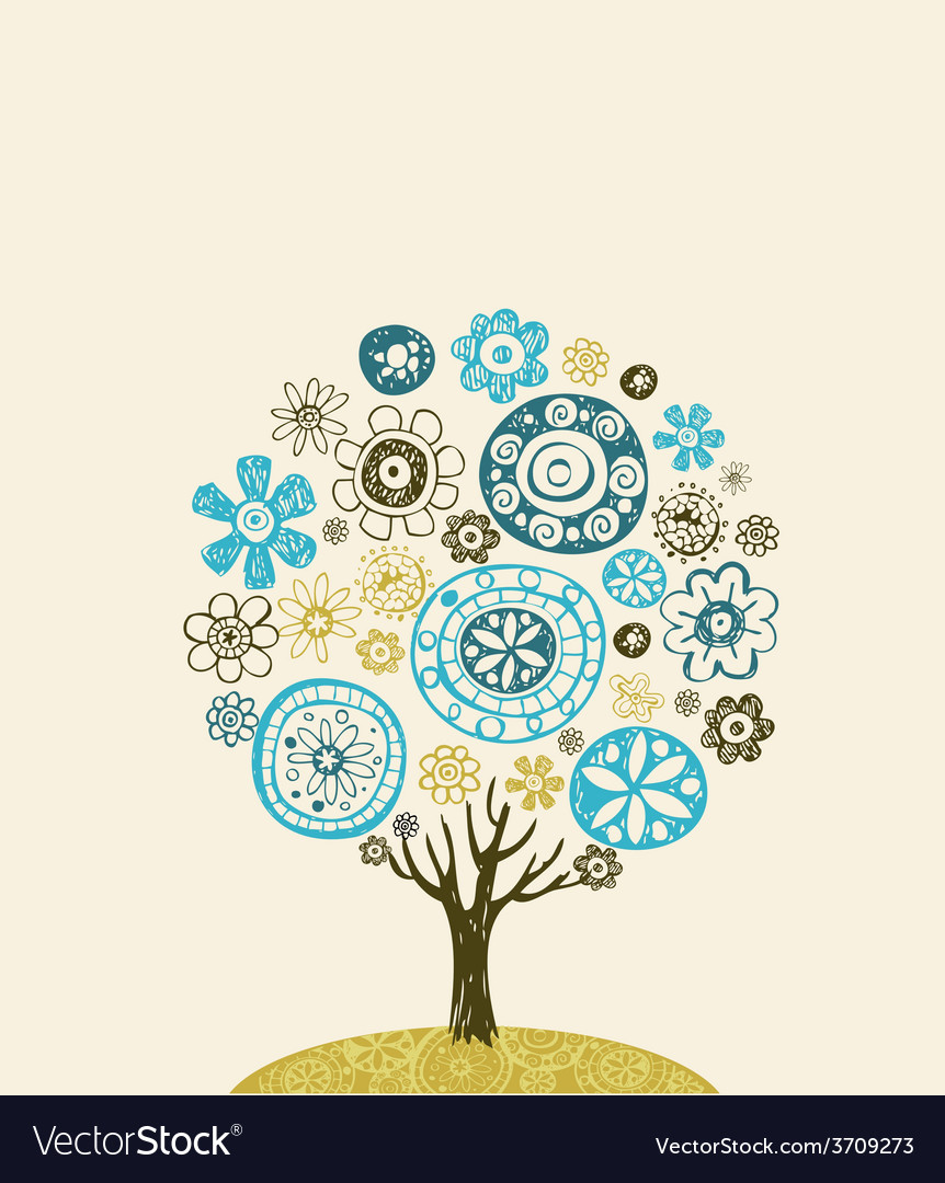 Cute ornate tree vector | Price: 1 Credit (USD $1)