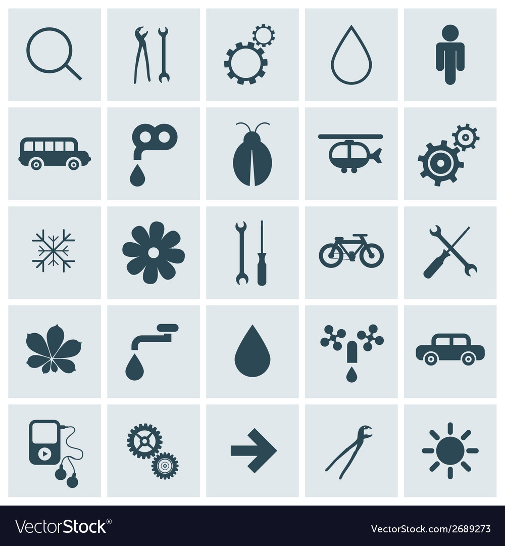 Flat design square icons set vector | Price: 1 Credit (USD $1)