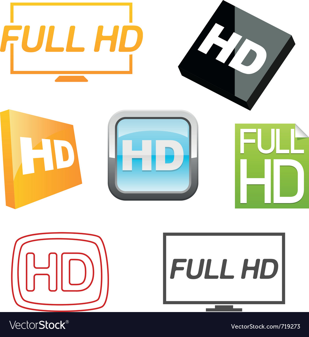 Hd icons set vector | Price: 1 Credit (USD $1)