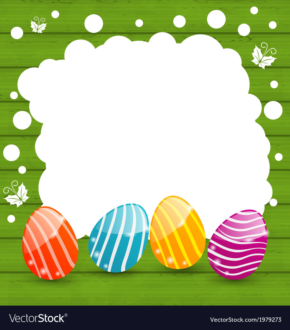 Holiday card with easter colorful eggs vector | Price: 1 Credit (USD $1)