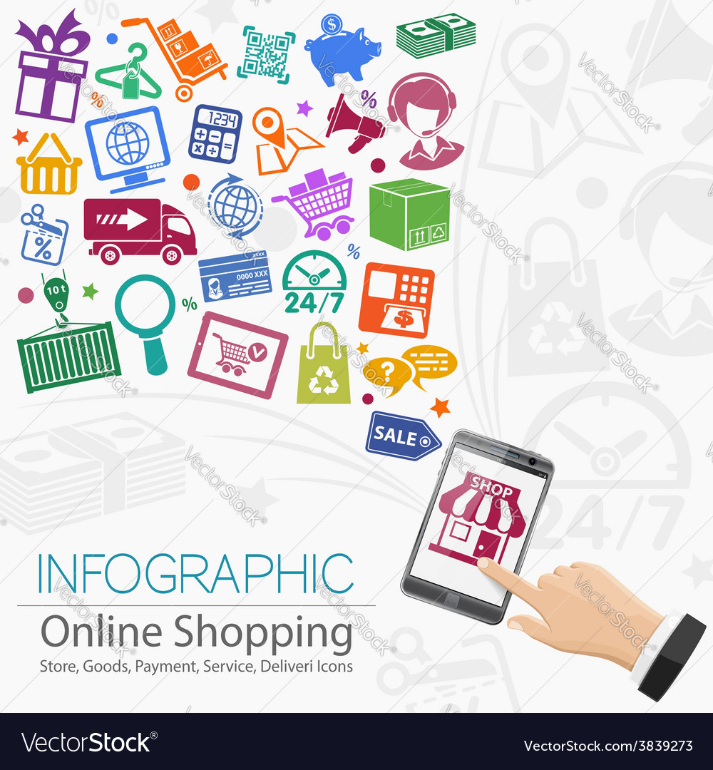 Internet shopping infographic vector | Price: 1 Credit (USD $1)