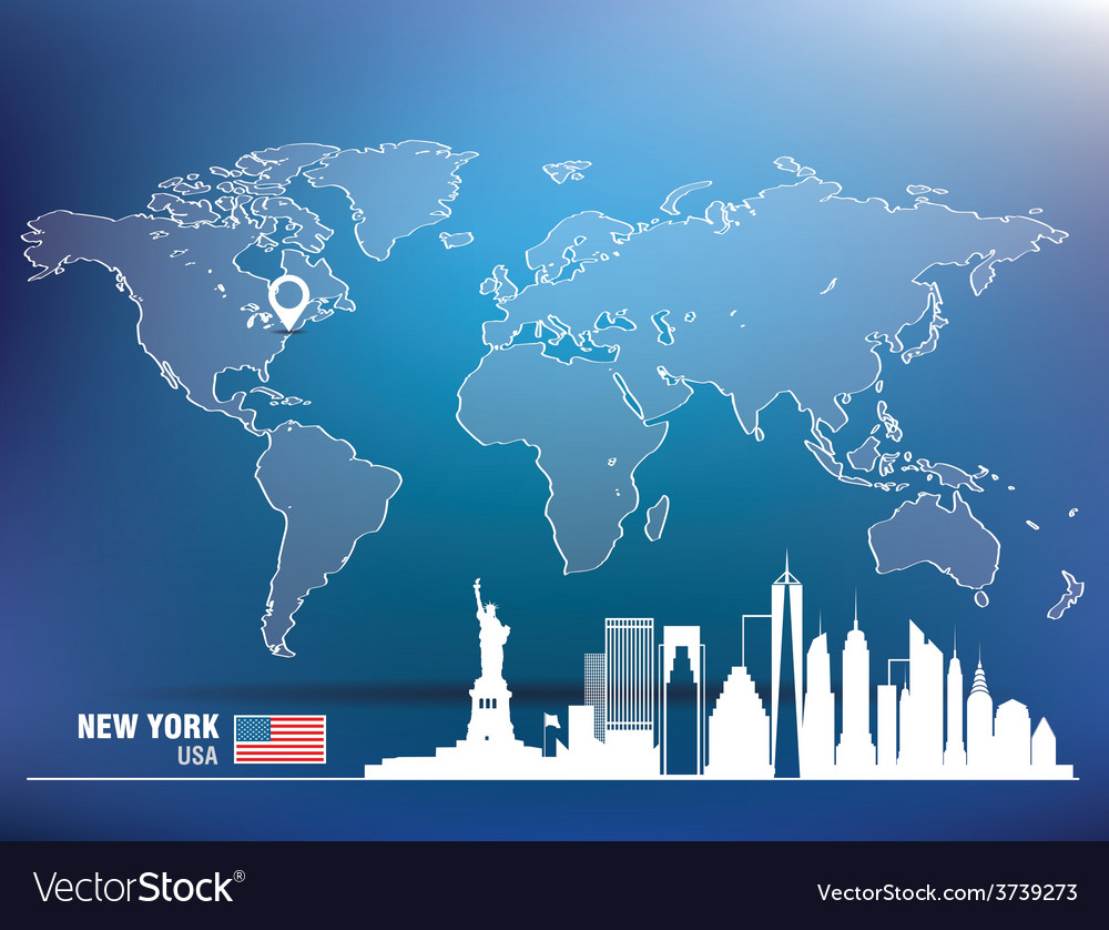Map pin with new york skyline vector | Price: 1 Credit (USD $1)