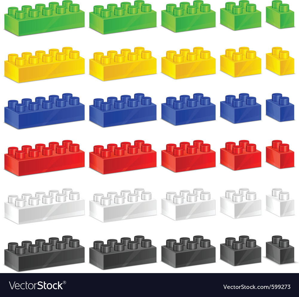 Plastic construction blocks vector