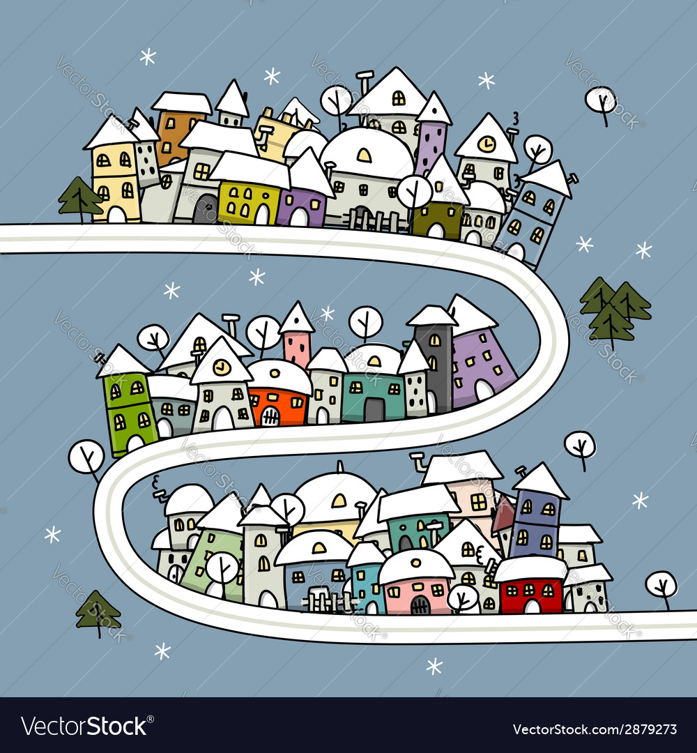 Road and houses winter cityscape cartoon for your vector | Price: 1 Credit (USD $1)